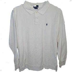 Boys Polo long sleeve Large 16/18 white